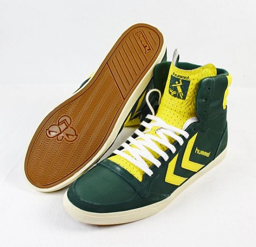 hummel herren schuhe sneaker slimmer stadil high retro gr n gelb maize leder ebay. Black Bedroom Furniture Sets. Home Design Ideas